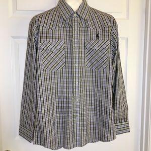 Ralph Lauren Button Down Plaid Western Cut Shirt